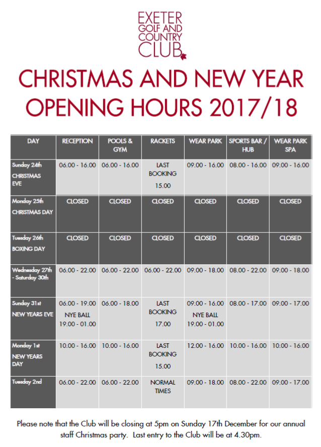 Christmas opening times Exeter Golf and Country CLub