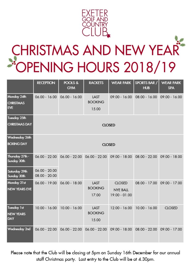 christmas opening hours exeter golf and country club