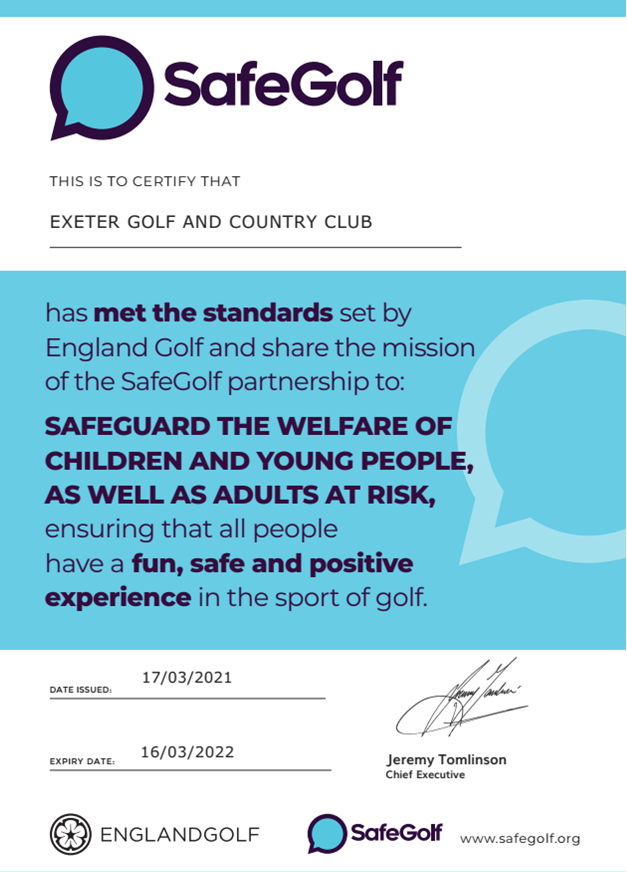 safegolf, england golf safegolf, exeter golf and country club, devon golf, golf, golf coaching, childrens golf coaching