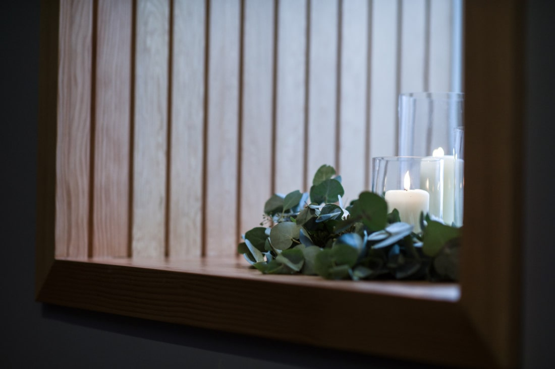 Candles in window at Exeter wedding venue in Devon