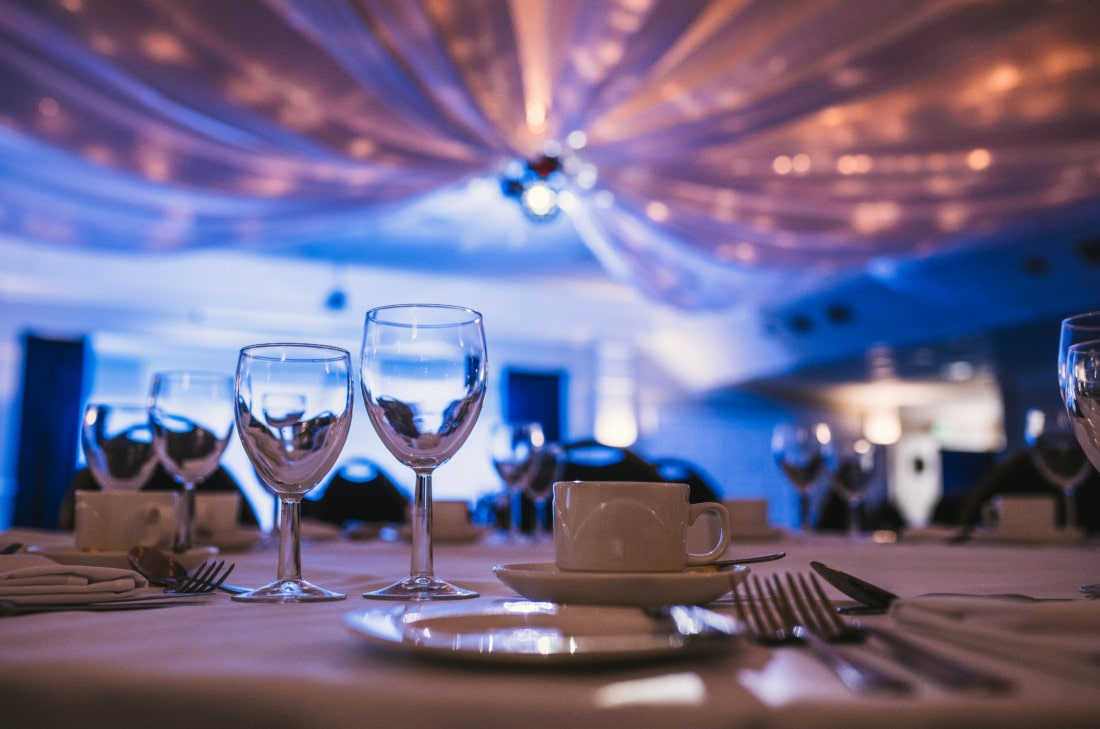 Wedding dinner table at Exeter wedding venue in Devon