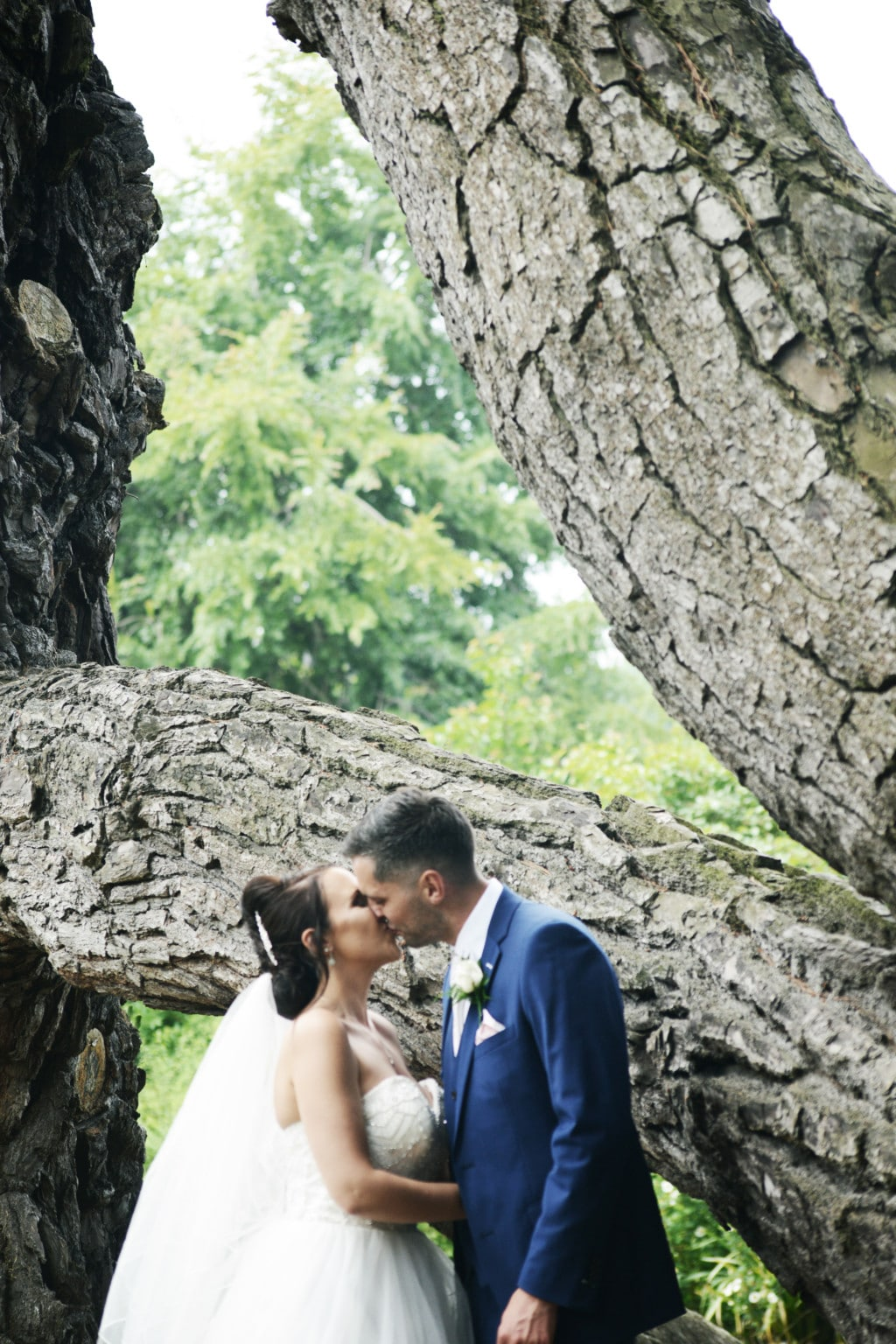 Bride and Groom kissing by a tree at Exeter wedding venue in Devon